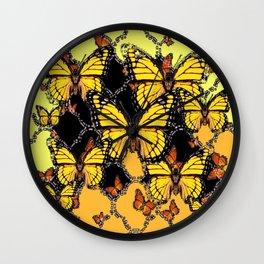 BLACK-GOLDEN YELLOW BUTTERFLIES ART Wall Clock