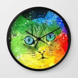 Abstract Bright Cat Wall Clock