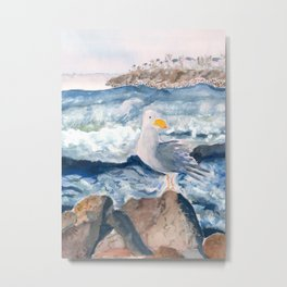 A Watercolor Seagull Named Fred (on Second Cliff in Scituate) Metal Print