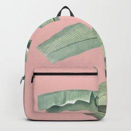 Green leaves on rose ink Backpack
