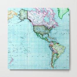 Turquoise Map Pattern Metal Print