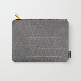 Modern rose gold geometric triangles blush pink abstract pattern on grey cement industrial Carry-All Pouch
