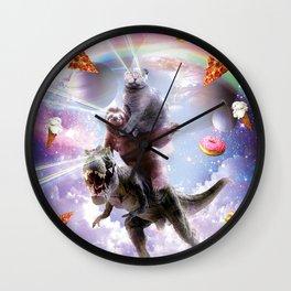 Laser Eyes Space Cat On Sloth Dinosaur - Rainbow Wall Clock