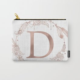 Letter D Rose Gold Pink Initial Monogram Carry-All Pouch