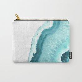 Aqua Blue Agate Print Carry-All Pouch