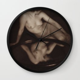 Nude photography of naked woman, Nude With Mirror (1909) by Clarence H. White Wall Clock