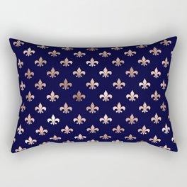 Royal Blue Rose Gold Pattern Rectangular Pillow