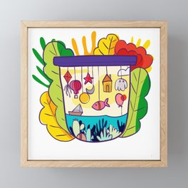 Modern floral pattern Framed Mini Art Print