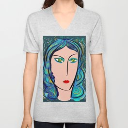 Pop Girl with green eyes and blue hair Unisex V-Neck