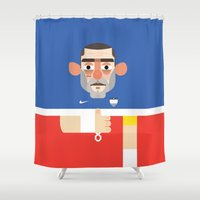 clint eastwood Shower Curtains featuring Clint Dempsey - USA Illustration by Gary  Ralphs Illustrations