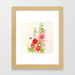 Watercolor Flower Pink Hollyhock and Bee Framed Art Print