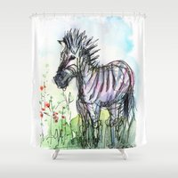 zebra Shower Curtains featuring Zebra by Olechka