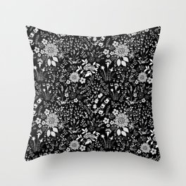 Star Sapphire Floral Celebration White on Black Throw Pillow