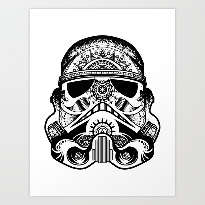 Mandala Stormtrooper - Black. A loyal solider.  Art Print