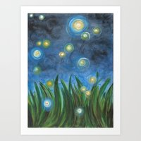 fireflies Art Prints featuring Fireflies by Kristen Fagan