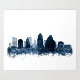 Austin Skyline Blue Watercolor by Zouzounio Art Art Print