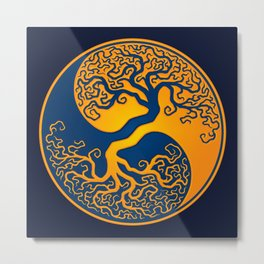 Blue and Yellow Tree of Life Yin Yang Metal Print