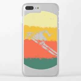 Retro Downhill Snow Skiing Ski Jump Vintage Style print Clear iPhone Case