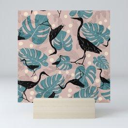 Monstera and Heron Pattern // Pastel Plants // Leaves and Birds // Coastal Print Mini Art Print