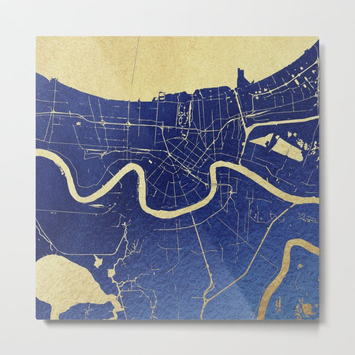 New Orleans Blue and Gold Map Metal Print