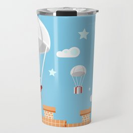 Santa Claus and reindeer parachutists delivering presents Travel Mug