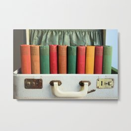 Vintage Colorful Classics in Suitcase Metal Print