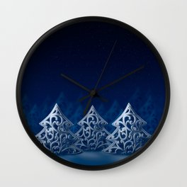 Three white Christmas trees Wall Clock