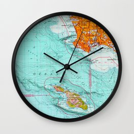 Long Beach colorful old map Wall Clock