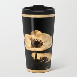 Anemone Flowers, Black with Golden Frame, Floral Nature Photography Metal Travel Mug