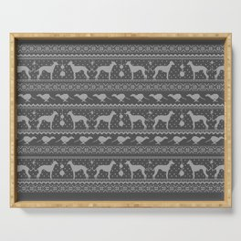 Ugly Christmas sweater | Greyhound / Whippet / Italian greyhound grey Serving Tray