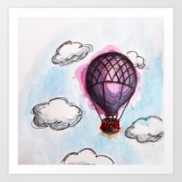 Purple hot air balloon Art Print