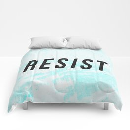 RESIST 1.0 - Black on Teal #resistance Comforters