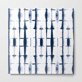 Shibori Stripes 4 Indigo Blue Metal Print