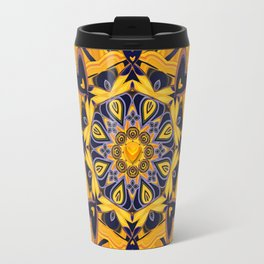 Flame Hearts in Blue and Gold Travel Mug