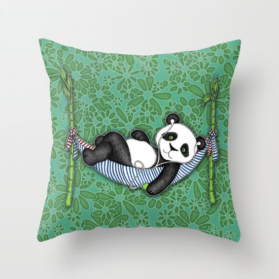 Throw Pillows Lagos : iPod Panda - The Lazy Days Throw Pillow by Micklyn Society6
