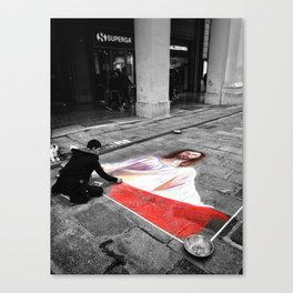 Street Art in Bologna Black and White Photography Color Canvas Print