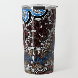Water Lilly Dreaming - Authentic Aboriginal Art Travel Mug