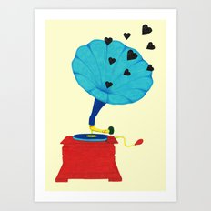 Gramophone Love Art Print