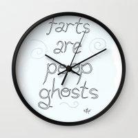 poop Wall Clocks featuring Ghost Poop by Bluh