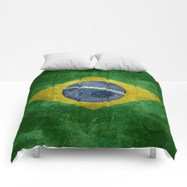 Flag of Brazil with football (soccer ball) retro style Comforters