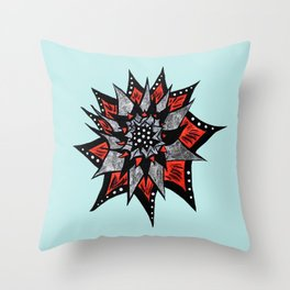 Spiked Abstract Flower In Red And Black Throw Pillow