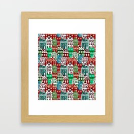 Christmas Village in Watercolor Red + Green Framed Art Print