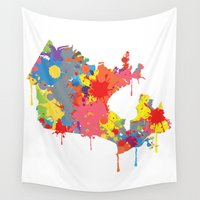 canada Wall Tapestries featuring Canada map by ArtisanObscure Prints