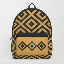 Traditional geometric pattern in modern colors, yellow Backpack