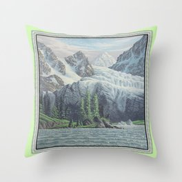 HIDDEN TOWER IN THE INLAND PASSAGE VINTAGE OIL PAINTING Throw Pillow