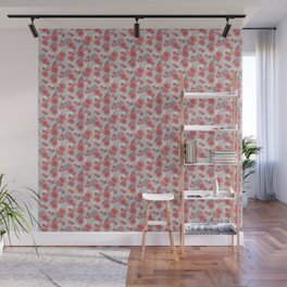 Crimson and Silver Floral Wall Mural