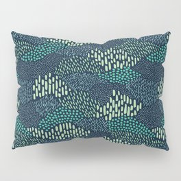 Dashes and dots in blue-green // abstract pattern Pillow Sham