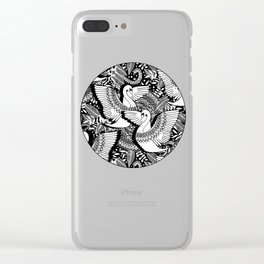 Stylish Swans in Monochrome Black and White Clear iPhone Case