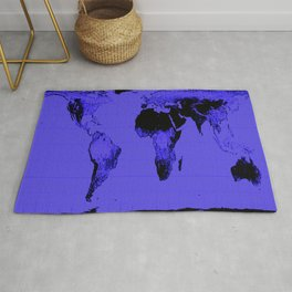 World Map: Gall Peters Indigo Purple Rug