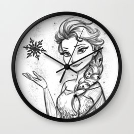 The Snow Queen Black And White Wall Clock